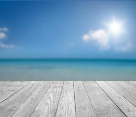 Fototapete - Am Meer / mit Holz