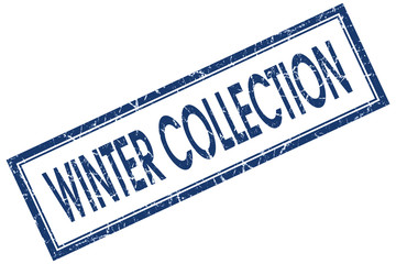 winter collection blue square stamp isolated on white background