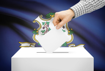 Ballot box with national flag on background - Connecticut