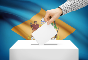 Ballot box with national flag on background - Delaware