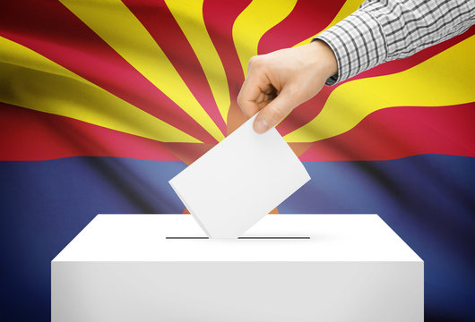 Ballot box with national flag on background - Arizona