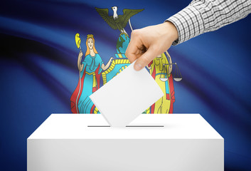 Ballot box with national flag on background - New York
