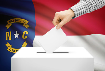 Ballot box with national flag on background - North Carolina