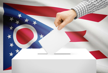 Ballot box with national flag on background - Ohio