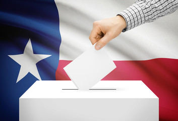 Ballot box with national flag on background - Texas