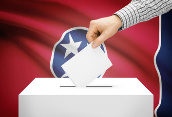 Ballot box with national flag on background - Tennessee