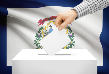 Ballot box with national flag on background - West Virginia