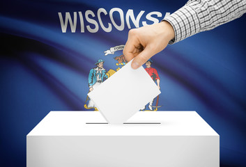 Ballot box with national flag on background - Wisconsin
