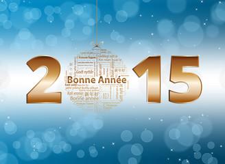 Bonne année 2015 fond bleu et blanc