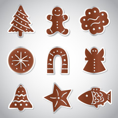 christmas various gingerbread symbols set eps10