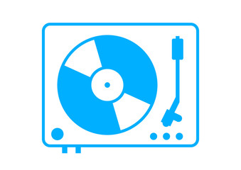 Blue gramophone icon on white background