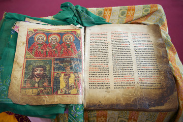 Ancient Bible in Amharic language, Aksum, Ethiopia.