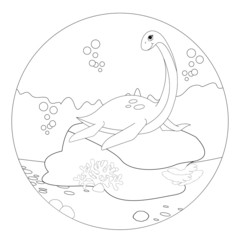 Funny Nessie Coloring Book Page