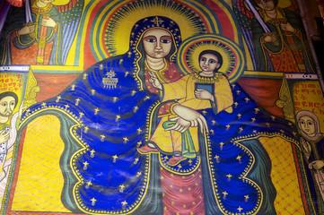 Fresco, Church of Our Lady Mary of Zion, Aksum, Ethiopia