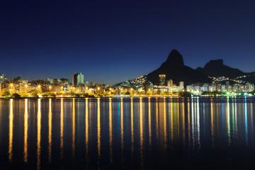 night view Lagoon Rodrigo de Freitas (Lagoa), Rio de Janeiro