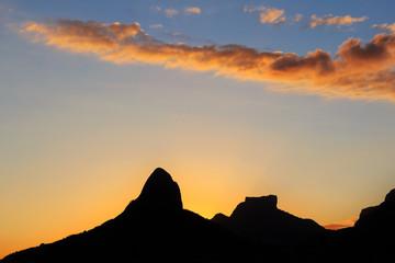 Sunset Lagoon Rodrigo de Freitas (Lagoa), silhouette of mountain