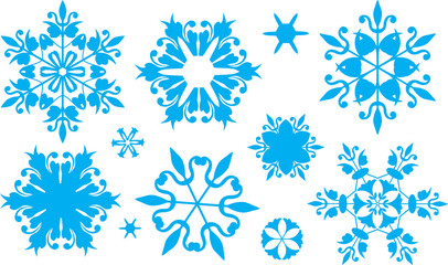 Set of snowflakes  Russian Gzel style