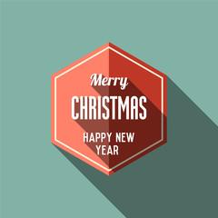 Merry Christmas retro flat background