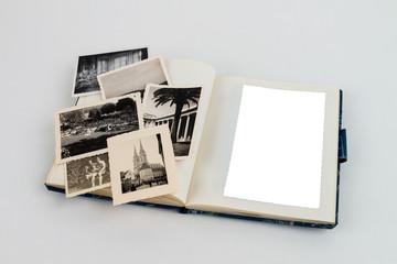 Fotoalbum von oben mit leerbild