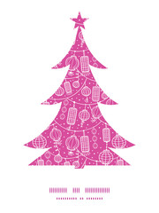 Vector holiday lanterns line art Christmas tree silhouette