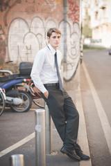 young handsome elegant blonde model man