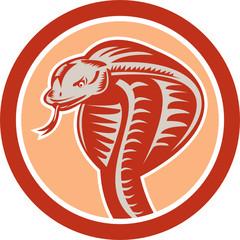 Cobra Viper Snake Head Circle Retro