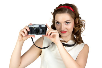 Image of the cute woman with camera