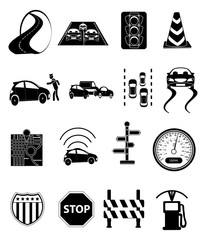 Road traffic icons set