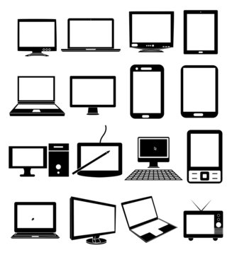 Computer devices screen display icons set