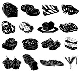 Bakery food icons set