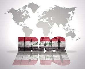 Word Iraq on a world map background
