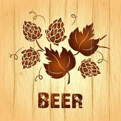 Decorative hops vector illustration. wooden  vintage background.