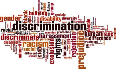 Discrimination word cloud concept. Vector illustration