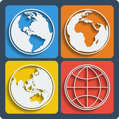 Set of 4 earth planet globe icons. Vector.