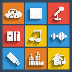 Set of 9 music web and mobile icons. Vector.