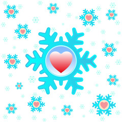 Christmas background with snowflakes and hearts