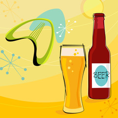 Retro beer motif with boomerangs and stars