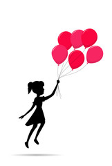 fly girl silhouette with a balloon