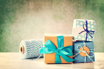 Light blue handmade present boxes