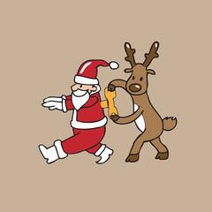 Reindeer winds up Santa