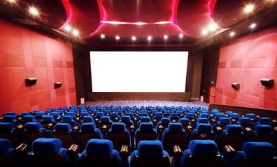 Empty movie theater with red seats Fotomurales