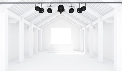 Empty White Room with spotlight - 3d Perspective