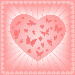 Vector illustration of the butterfly and flowers in heart shape.