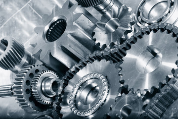 ball-bearings, cogwheels in a teamwork concept