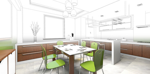 sketch design of dining ,3dwireframe render
