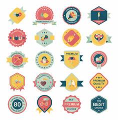 Valentine's Day badge flat banner design background set, eps10