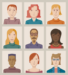Nine portraits of young people, flat design
