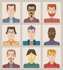 Nine portraits of young men, flat design