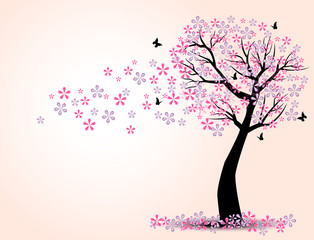 the silhouette of cherry trees and butterfly vector