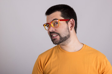 Guy funny expression with glasses